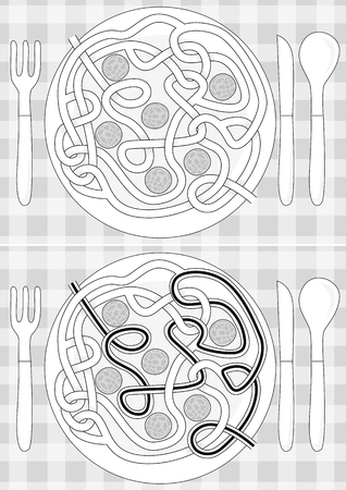 Spagetti maze for kids with a solution in black and white