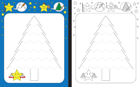 Preschool worksheet for practicing fine motor skills - tracing dashed lines of Christmas tree illustration Çizim