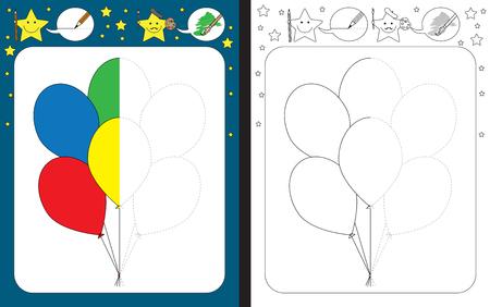 Preschool worksheet for practicing fine motor skills - tracing dashed lines - finish the illustration of balloons Illusztráció