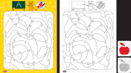 Worksheet for practicing letter recognition and fine motor skills - color only fields with letter A - finish the illustration of apple