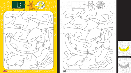 Worksheet for practicing letter recognition and fine motor skills - color only fields with letter B