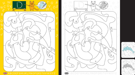 Worksheet for practicing letter recognition and fine motor skills - color only fields with letter D - finish the illustration of dolphin
