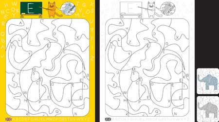 Worksheet for practicing letter recognition and fine motor skills - color only fields with letter E - finish the illustration of an elephant Illusztráció