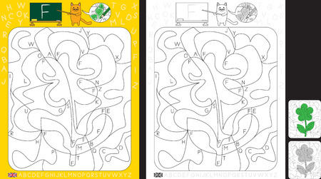 Worksheet for practicing letter recognition and fine motor skills - color only fields with letter F - finish the illustration of a flower Illusztráció