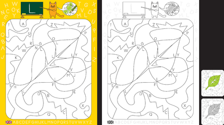 Worksheet for practicing letter recognition and fine motor skills - color only fields with letter L - finish the illustration of a leaf