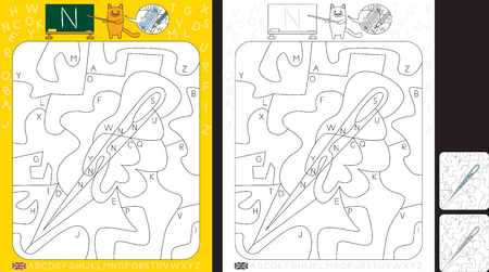 Worksheet for practicing letter recognition and fine motor skills - color only fields with letter N - finish the illustration of a needle Çizim