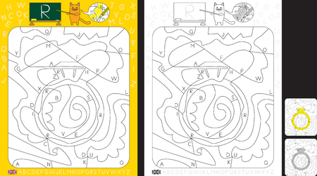 Worksheet for practicing letter recognition and fine motor skills - color only fields with letter R - finish the illustration of a ring Illustration