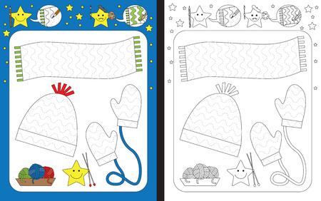 Planilha pré-escolar para a prática de habilidades motoras finas - traçando linhas tracejadas de xaile, boné e mitenes