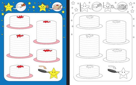 Preschool worksheet for practicing fine motor skills - tracing dashed lines of pancakes Çizim
