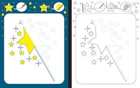 Hoja de trabajo preescolar para practicar las habilidades motoras finas - trazar líneas discontinuas - terminar la ilustración de la varita mágica Ilustración de vector