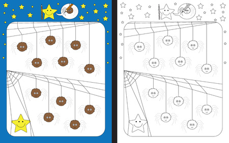 Preschool worksheet for practicing fine motor skills - tracing dashed lines of spider legs Иллюстрация