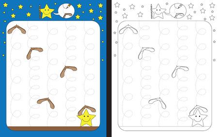 Preschool worksheet for practicing fine motor skills - tracing dashed lines of maple seed trails Illusztráció