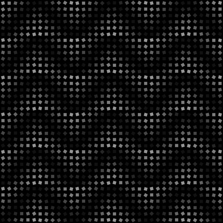Seamless illustrated halftone pattern made of squares in shades of grey on black background