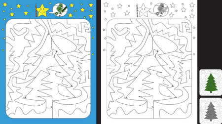 Worksheet for practicing fine motor skills - color only fields with dot - finish the illustration of a pine tree