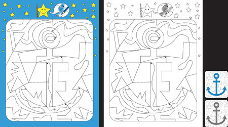 Worksheet for practicing fine motor skills - color only fields with dot - finish the illustration of a anchor