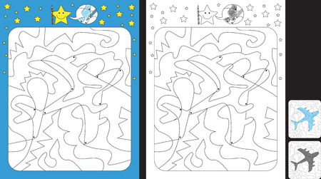 Worksheet for practicing fine motor skills - color only fields with dot - finish the illustration of an aeroplane