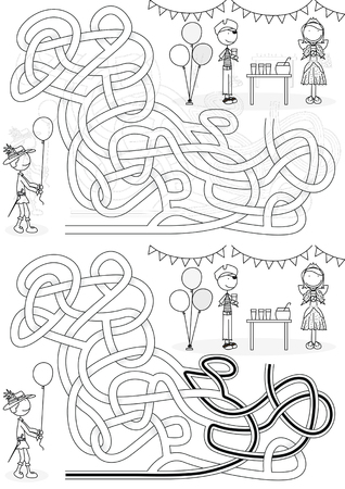 Costume party maze for kids with a solution in black and white Illustration