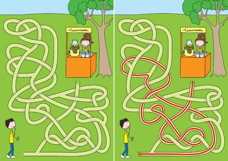 Lemonade maze for kids with a solution; Activity for kids, brain teaser in colorful illustration.