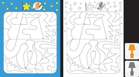 Activity sheet for kids; Worksheet for practicing fine motor skills;color only fields with dot with finish illustration of a lamp. Illusztráció