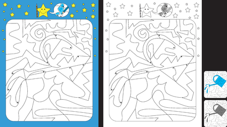Activity sheet for kids; Worksheet for practicing fine motor skills;color only fields with dot with finish illustration of a watering can.