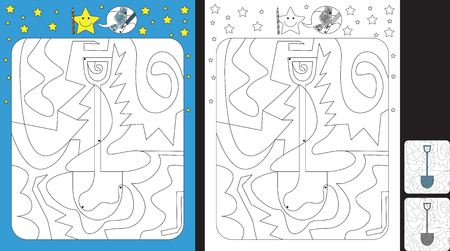 Activity sheet for kids; Worksheet for practicing fine motor skills;color only fields with dot with finish illustration of a shovel.