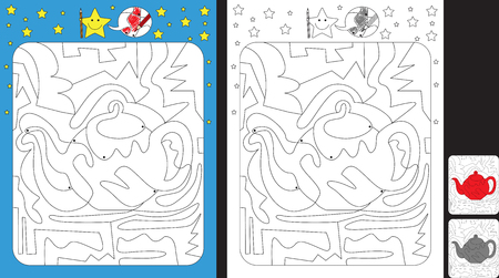 Activity sheet for kids; Worksheet for practicing fine motor skills;color only fields with dot with finish illustration of a tea pot.