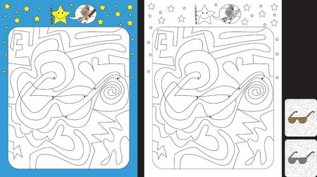 Activity sheet for kids; Worksheet for practicing fine motor skills;color only fields with dot with finish illustration of a sunglasses.