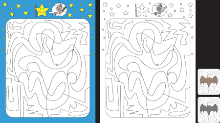 Activity sheet for kids; Worksheet for practicing fine motor skills;color only fields with dot with finish illustration of a bat.