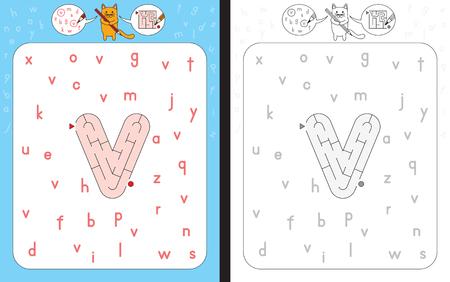 Worksheet for learning alphabet - recognizing letter v - maze in the shape of letter v
