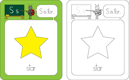 Flashcard for English language - letter S is for star