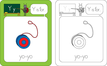 Flashcard for English language - letter Y is for yo-yo Stock Vector - 89615872