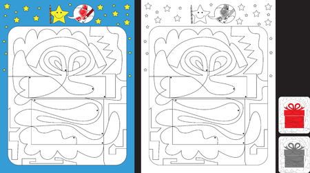 Worksheet for practicing fine motor skills - color only fields with dot - finish the illustration of a present