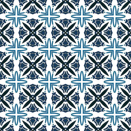 Seamless pattern illustration in traditional style like Portuguese tiles