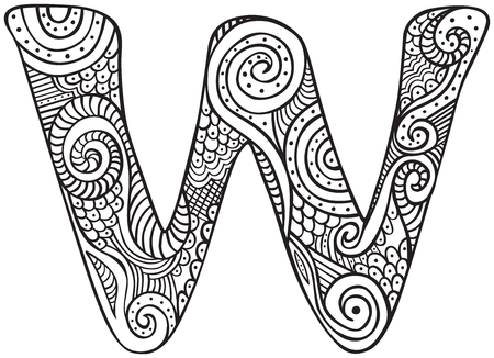 Hand drawn capital letter W in black - coloring sheet for adults