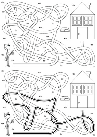 Postman maze for kids with a solution in black and white