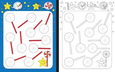 Hoja de trabajo preescolar para practicar habilidades motrices finas: trazar líneas punteadas de piruleta Ilustración de vector