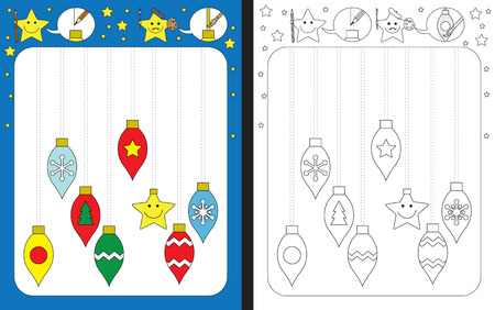 Preschool worksheet for practicing fine motor skills - tracing dashed lines of Christmas ornaments