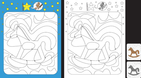 Worksheet for practicing fine motor skills - color only fields with dot - finish the illustration of a rocking horse