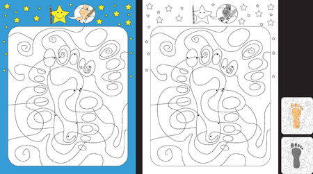 Worksheet for practicing fine motor skills - color only fields with dot - finish the illustration of a footprint
