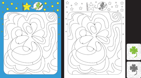 Worksheet for practicing fine motor skills - color only fields with dot - finish the illustration of a four leaf clover