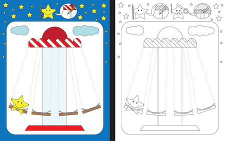 Preschool worksheet for practicing fine motor skills - tracing dashed lines of merry go round