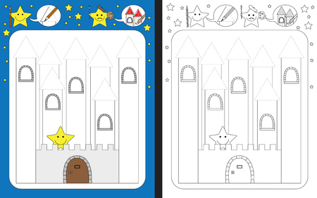 Preschool worksheet for practicing fine motor skills - tracing dashed lines of castle towers Çizim