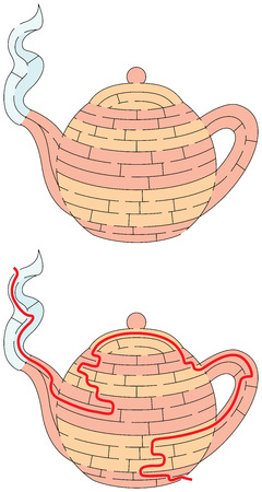 Easy teapot maze for younger kids with a solution Illustration
