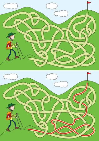 Labirinto de alpinista para crianças com uma solução Foto de archivo - 91535961