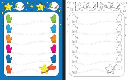 Preschool worksheet for practicing fine motor  tracing dashed lines between gloves.