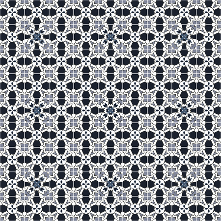 Seamless pattern illustration in traditional style - like Portuguese tiles.