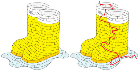 Rubber boots maze for younger kids with a solution Illustration