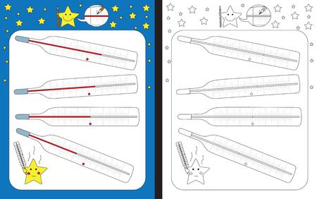 Preschool worksheet for practicing fine motor skills - tracing dashed lines on thermometer. Illusztráció