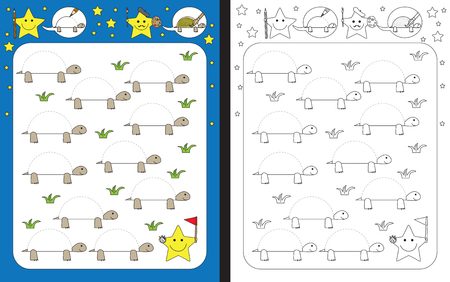 Preschool worksheet for practicing fine motor skills - tracing dashed lines of tortoise shell.