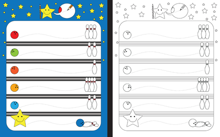 Preschool worksheet for practicing fine motor skills - tracing dashed lines from bowling balls to bowling pins.